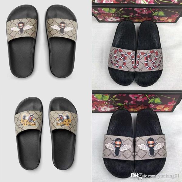 Gucci slippers Роскошные сандалии 20 моделей mix momen женские тапочки с коробкой цветок тигры змея печати резиновая кожа флип-флоп с коробкой фото