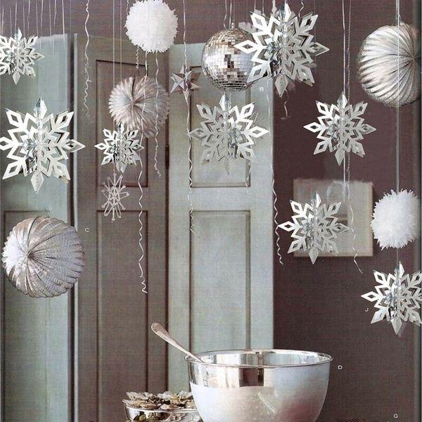 2020 Christmas Party Winter Снежинка Строка Висячие Окно потолка Рождественская елка Белый Snowflake Xmas украшения Висячие Декор фото