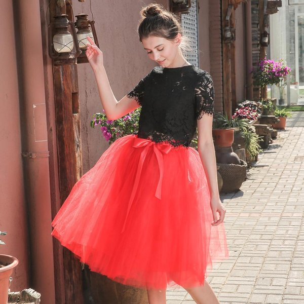 19 Multicolor 6 Layer Gauze Half-body Skirt Women Elastic Waist Ballet Skirt Fashion Super Pendulum Bridesmaid Yarn
