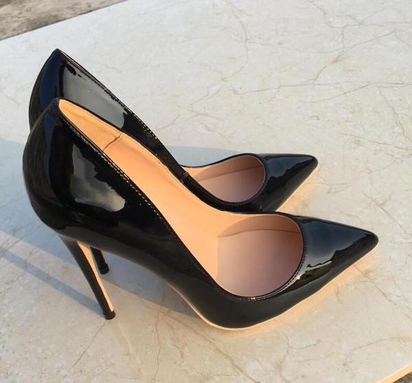 2019 бесплатная доставка мода женщины сексуальная черная лакированная кожа Poined пальцы на высоких каблуках туфли на шпильках туфли на каблуках насосы 12 см 10 см фото