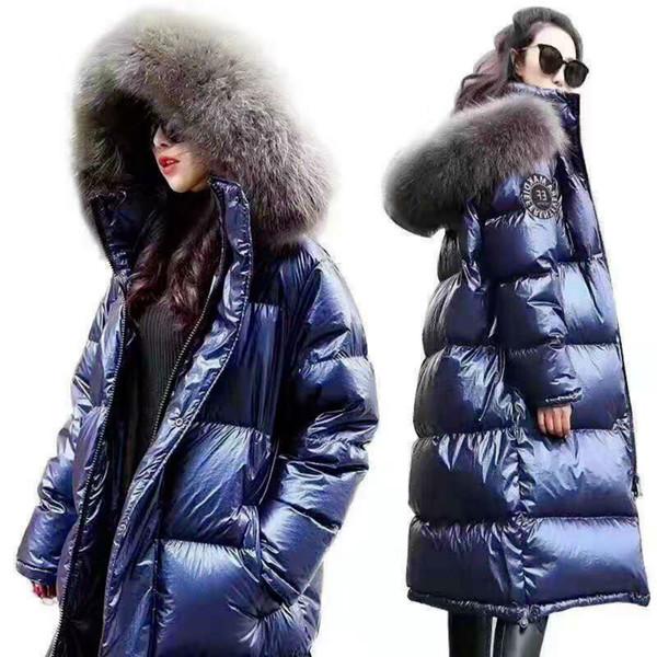 Дизайнер женской моды ветровки пальто зимы Длинная куртка способа женщин пальто зимы DownParkas Толстая Леди пуховик Яркие кожаные пальто фото