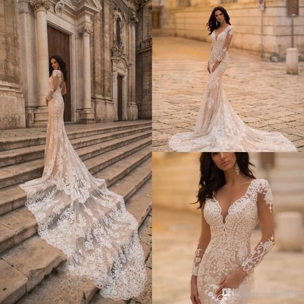 Шампанское 2019 Русалка свадебное платье Sexy V шеи шнурок с длинным рукавом Свадебны фото