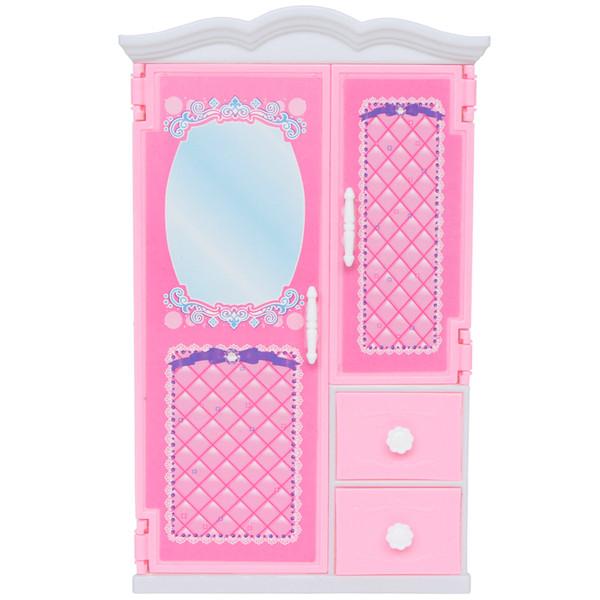 1 Шт. Высокое Качество Розовый Шкаф Пластиковые Мини Кукольный Домик Спальня 1:6 Си