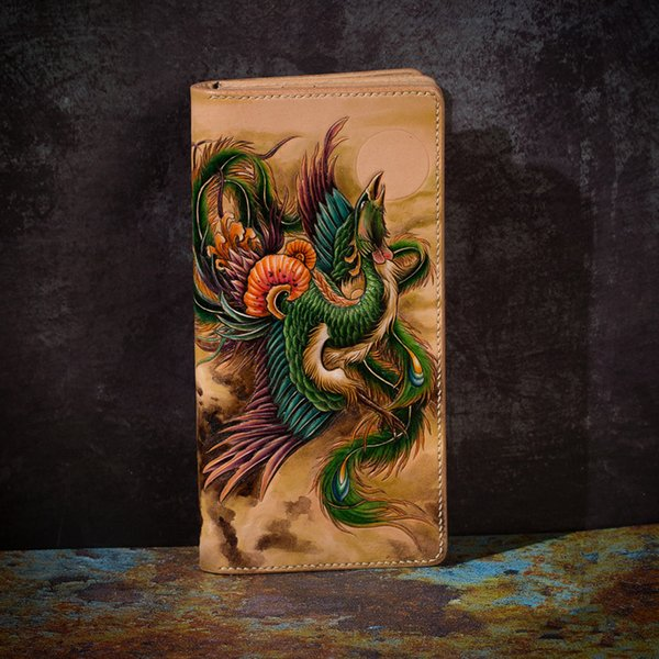 high-end handmade wallets carving phoenix purses men long clutch vegetable tanned leather wallet card holder (479160453) photo