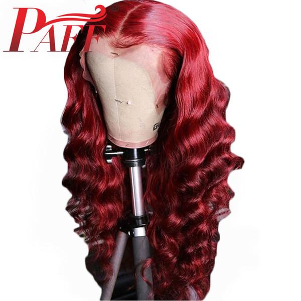 Парик PAFF 13x6 фронт шнурка человеческих волосы Парики Цветного Red Сыпучей волны Malays