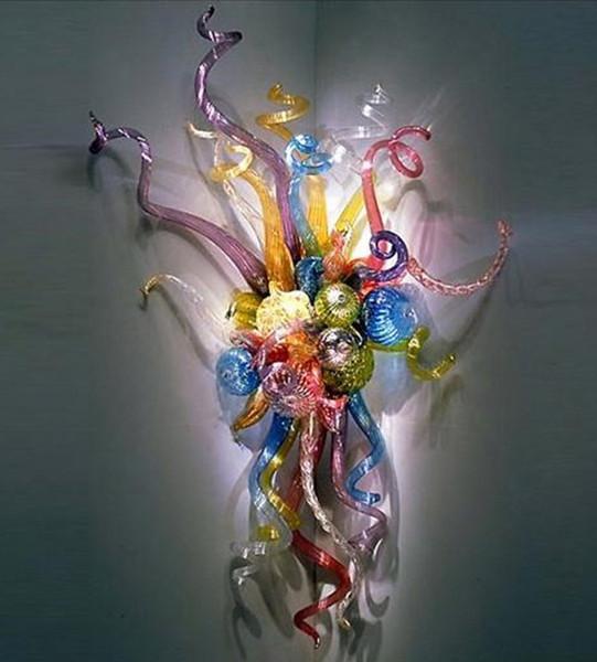 Fancy Art Glass Wall Lamp Многоцветный цветок стены Бра Современные Стиль светодиодные лампы ручной работы выдувное стекло Настенные светильники фото