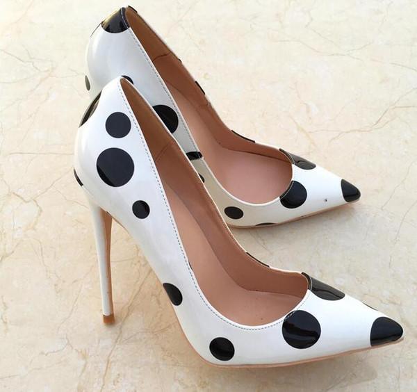 2019ss бесплатная доставка мода женщины свадьба белый черный лакированная кожа острым носом туфли на высоких каблуках туфли на шпильках туфли на высоком каблуке насос 12 см 10 см фото