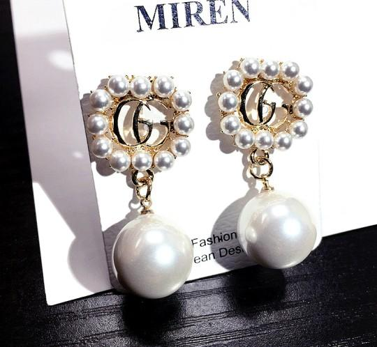 latest Elegant Ms. Letters designer high quality Earrings Double Layers Crystal Pearl Ear Studs Earrings Girl Jewelry