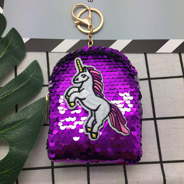 sequins flaningo purse backpack girl coin purse wallet key chain pendant glitter bags sequined shining mini (500563640) photo