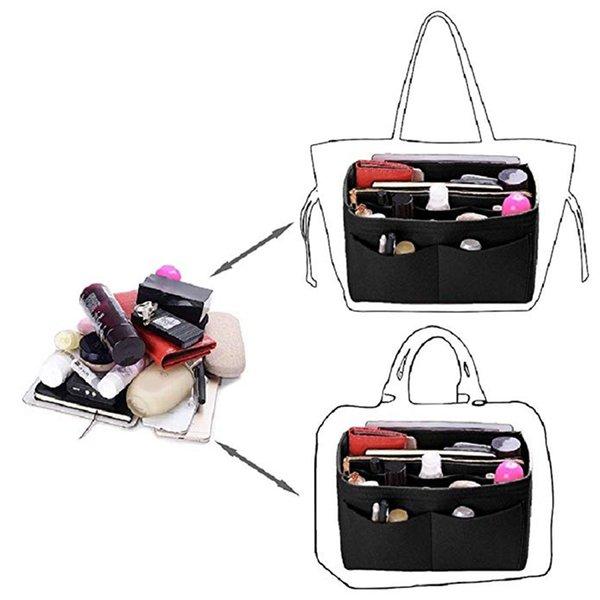 home storage bag purse organizer felt insert bag makeup organizer inner purse portable cosmetic bags storage tote xl (543714911) photo