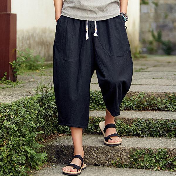 3XL мужская широкая промежность шаровары летние мешковатые брюки из чистого хлопка плюс размер мужские широкие свободные брюки шнурок брюки новый фото
