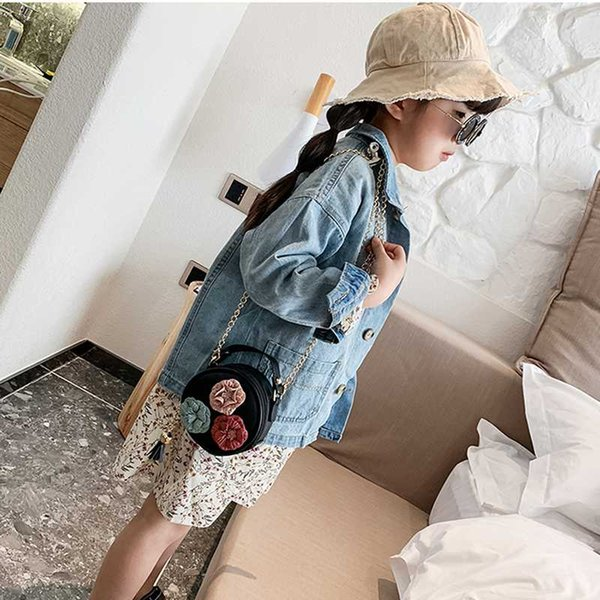 2020 cute flower handbag purse little children small round bag simple diagonal bag trend baby's mobile phone purse for girl (542677339) photo