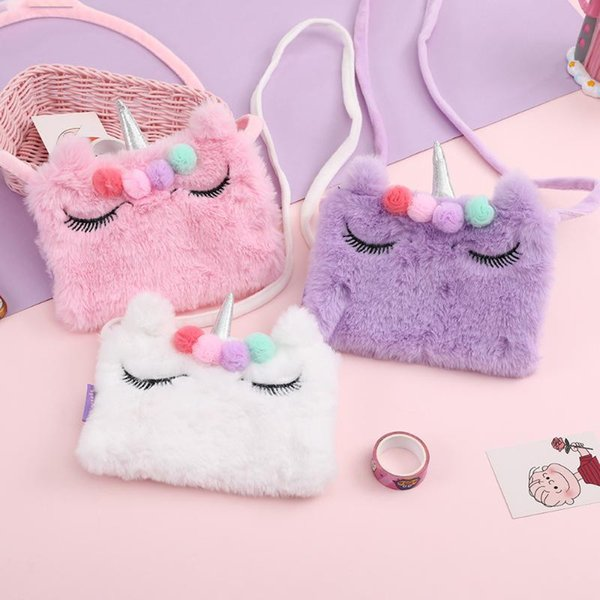 cartoon kids mini purse 2020 cute unicorn coin wallet bag for little girl plush crossbody bags baby money change purse (537460919) photo