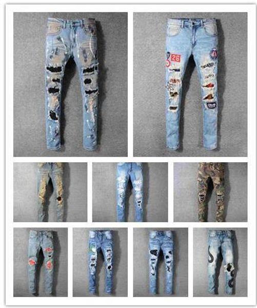 Tide high quality Pleated hole Slim feet slightly elastic mens Pants Stretch Slim Jeans fashion brand trousers