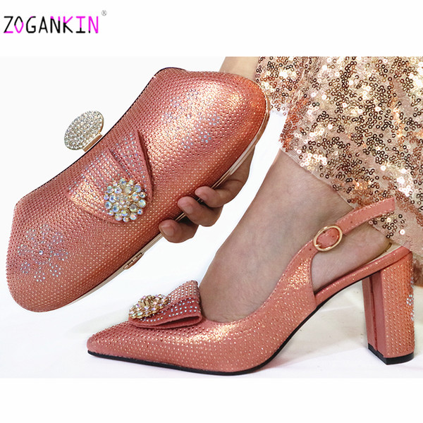 peach woman crystal shoes and purse set for party african rhinestone high heels wedding shoes and bag set (497890103) photo