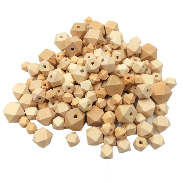 100pcs 12mm Organic Unfinished Geometric Wood Beads Teether Baby Teether Diy Accessories Wooden Octagon Beads For Jewelry Making