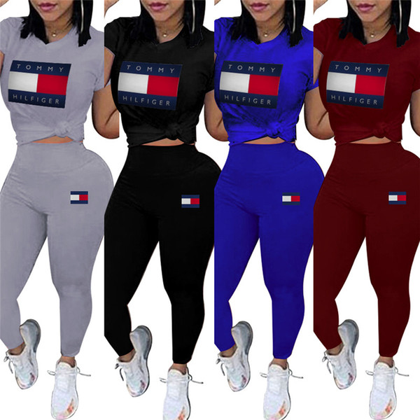 Women brand designer 2 piece set tracksuit sweatsuit crew neck short sleeve print letter t-shirt bodycon leggings pants summer clothing 623