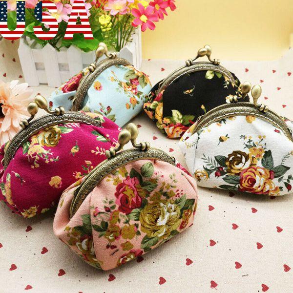 2019 floral printing retro coin purses girl hasp zero wallet ladies clutch change purse canvas bag (500404790) photo