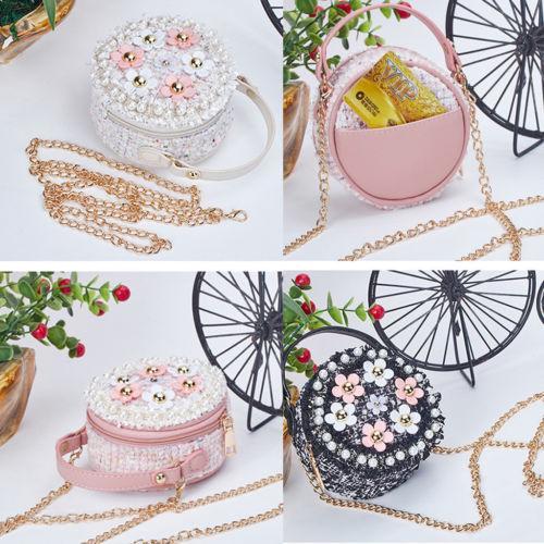 kid girl round shape floral pearl sling shoulder crossbody handbag bags princess purses (470800900) photo