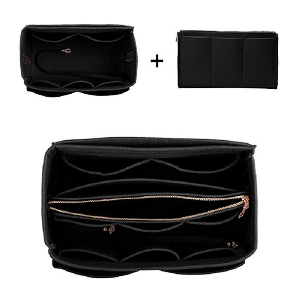 home storage bag purse organizer felt insert bag makeup organizer inner purse portable cosmetic bags storage tote l (545355196) photo