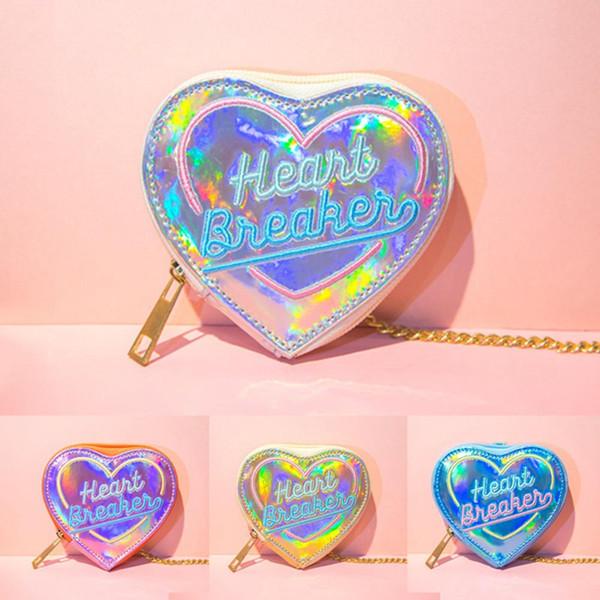 korean chic women heart hologram wallet laser pu small coin purse zipper clutch money purse bank card holders bag pouch (483353535) photo
