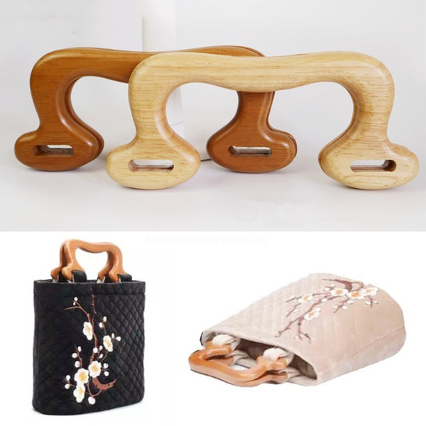 one pair 17cm solid wood bag handle knitting bag handles wood purse hanger diy handle parts coffee vintage handmade (442305556) photo