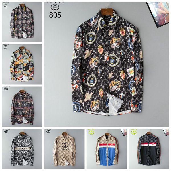 Роскошные мужские дизайнерские футболки с длинным рукавом Firmate бизнеса рубашек платья вскользь Марка рубашки Печать Тонкий Button Shirt Homme Up Tops 124 фото