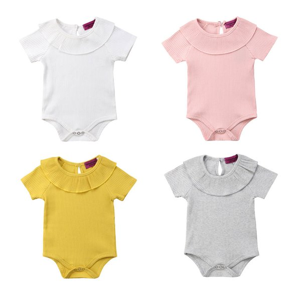 2018 new kid infant baby girl boy collar short sleeves wool jumpsuit rib clothes outfit novelty summer clothing