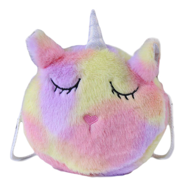 girl mini cartoon unicorn plush purse bag zipper closure shoulder bag messenger plush purse headphone pouch (496348288) photo