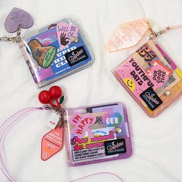 bentoy milkjoy storage bag transparent halter id card holder pvc short wallet woman girl jelly fashion korea sell purses (487076705) photo