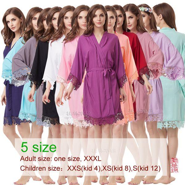 bridesmaid robes, Monochromatic lace robe,Satin robe ,Flower girl robe, wedding Robe,bride robe, cotton robe A300A Y200425