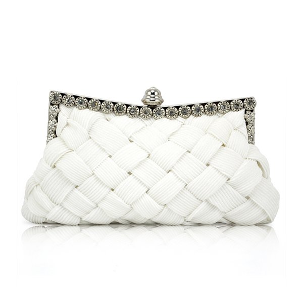 white satin bridal evening prom clutch handbag purse (549836315) photo