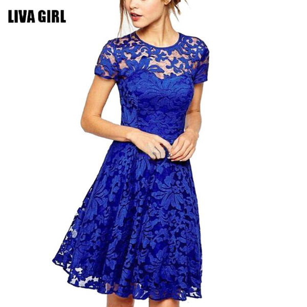*Women Floral Lace Dresses Short Sleeve Party Casual Color Blue Red Black Mini Dress*