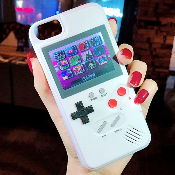 Mini handheld game con ole  iphone ca e  ilica gel protective  leeve retro game machine player color lcd for iphone6 7 8 8plu  x x  max xr