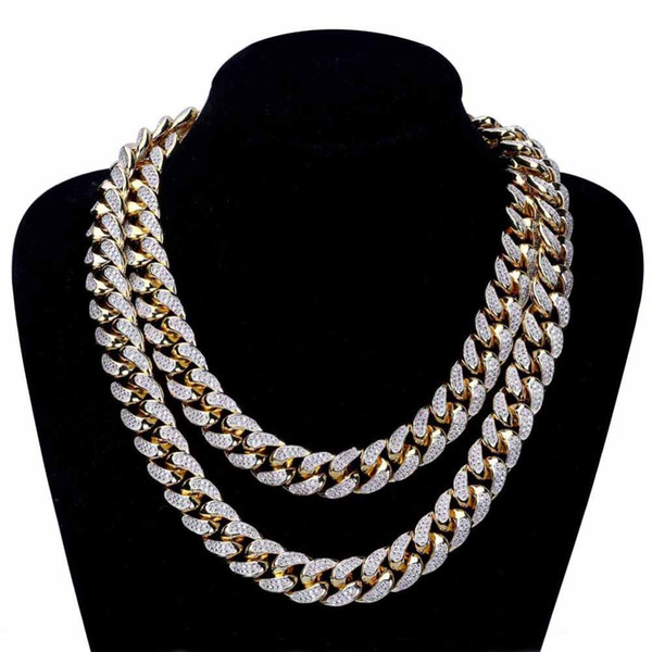 "Men Women HipHop Miami Cuban Chain Necklaces Top Quality Copper Micro-inserts White Diamond Bling Bling Iced Out Jewelry 14MM 18""/22"""