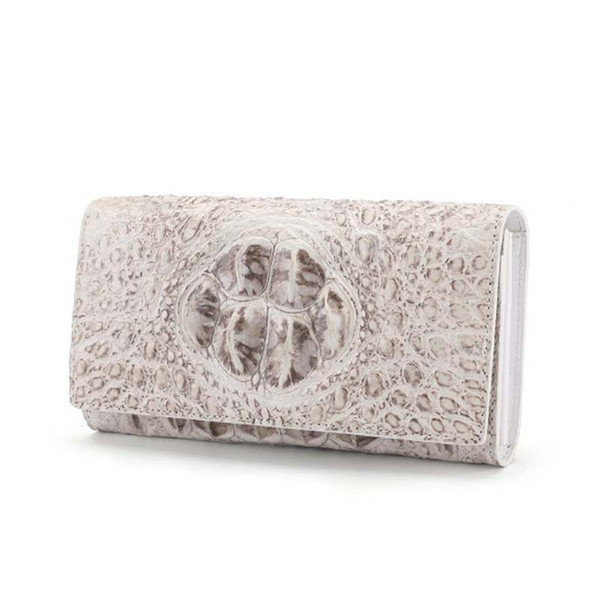 dae crocodile skin bag for lady leather purses himalayan white fashion evening bag mid-length purses women clutch wallet (523623378) photo