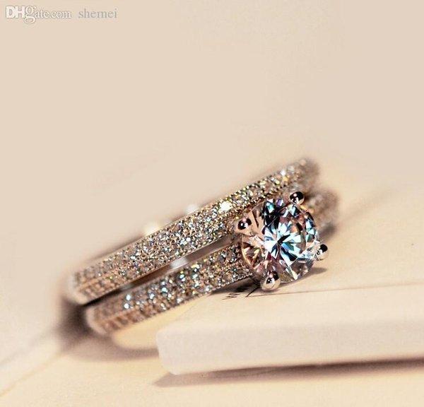 Оптовая продажа-Виктория Вик реальный пасьянс 5 мм Топаз имитация Алмаза стерлингового серебра 925 пробы женщины обручальное кольцо набор обручальное кольцо Sz 4-10 фото
