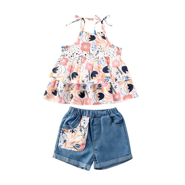 1-4 Years Girls Outfits 2-Piece Set Kids Summer Fashion Casual Print Sling Tops + Denim Shorts Girls Suit
