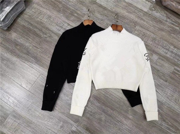 New design sexy women's letter embroidery turtleneck long sleeve short crop top up-navel knitted sweater jumper tops