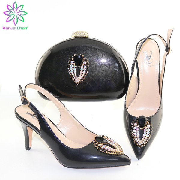 black color nigerian style woman middle heels shoes and bag set summer italian shoes and purse set for party (501829049) photo