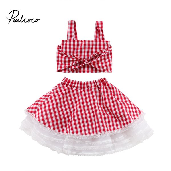 pudcoco girl clothes 2pcs lace kids baby girls 2018 summer casual plaid cotton camisole sleeveless tank  +skirts outfits