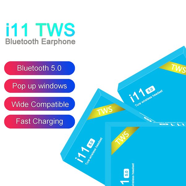 I11 tw  wirele   bluetooth headphone  earbud  with pop up window twin  mini earbud  for iphone x io  android i11 5 0 touch blue box