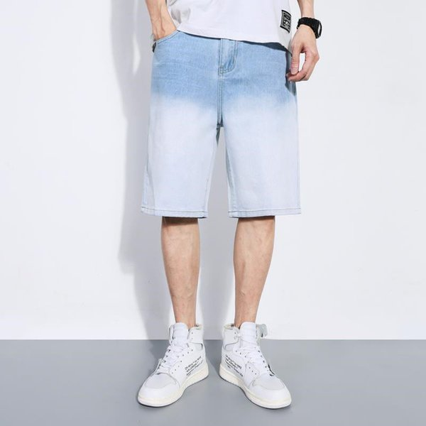 Mens Designer Gradient Color Jeans Knee Length Street Jeans Shorts Straight Mid Waist Zipper Fly Shorts With Pocket