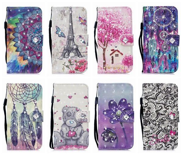 Bling diamond 3d leather wallet ca e for  am ung  10 a70 a50 a40 a30 a20 a10 a9 19 card  lot id flower eiffel tower dreamcatcher flip cover