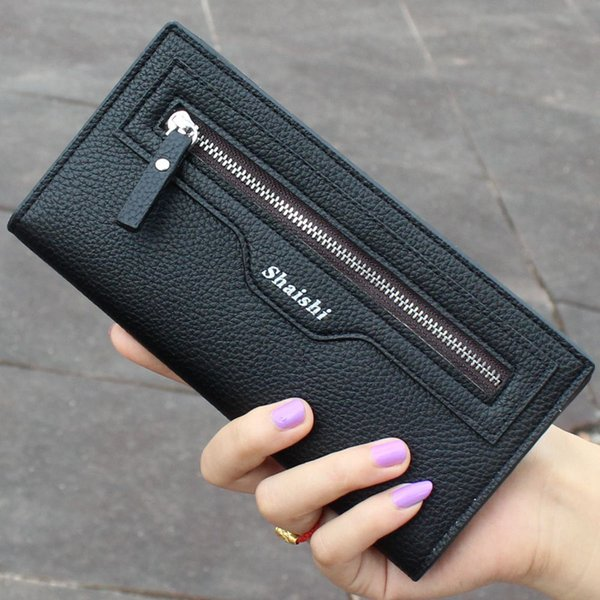 new fashion litchi texture pu leather womens wallets and purses leather zipper female purses handbags ladies women clutch purse (483585620) photo