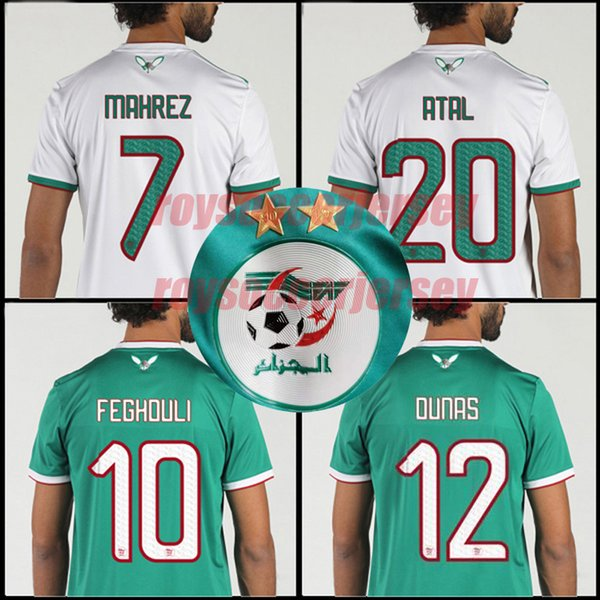 2019 africa cup algeria 2  tar   occer jer ey mahrez feghouli atal delort football  hirt 19 20 algeria champion  maillot de foot