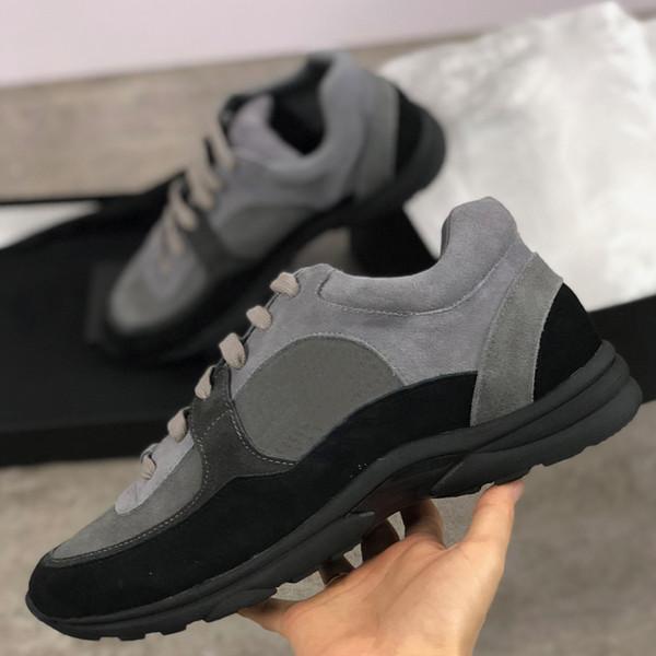 Дизайнерские кроссовки из замши из телячьей кожи G34360 Обувь из натуральной кожи Мужские и женские кроссовки из высококачественной нейлоновой обуви из овчины с коробкой SZ US 4-11.5