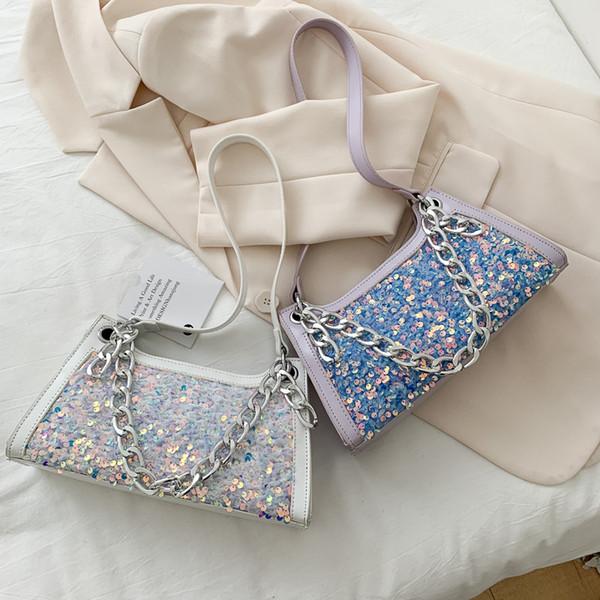 women chain candy colors shoulder bag fashion ladies baguette bag luxury handbag summer underarm women girl purse 2020 new (553015065) photo
