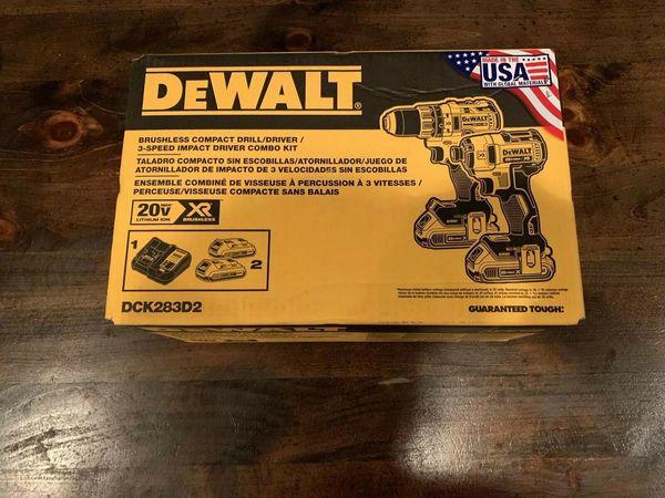 Dewalt dck283d2 max xr lithium ion bru hle drill driver impact combo kit new