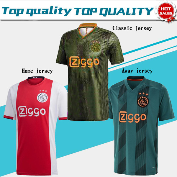 2019 ajax home  occer jer ey   21 de jong away  hirt ajax 19 20  10 tadic  4 de ligt  22 ziyech men football uniform